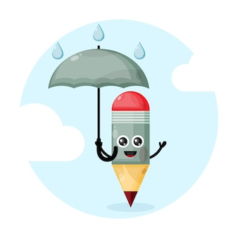 Personnage de mascotte stylo avec parapluie