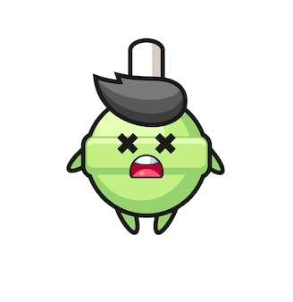 Le personnage de mascotte de sucette morte, design de style mignon pour t-shirt, autocollant, élément de logo