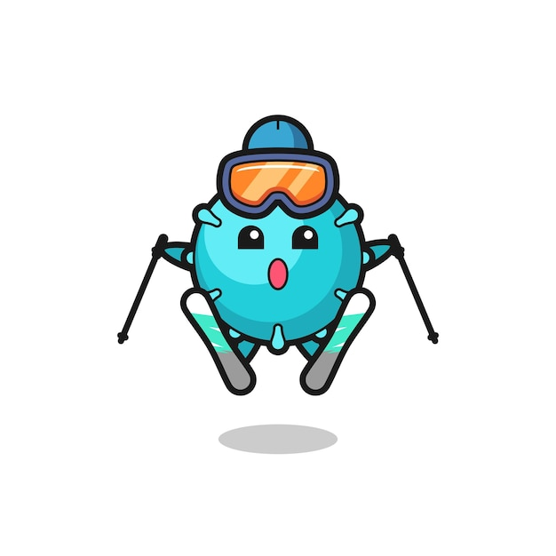 Personnage de mascotte de virus en tant que joueur de ski, design de style mignon pour t-shirt, autocollant, élément de logo