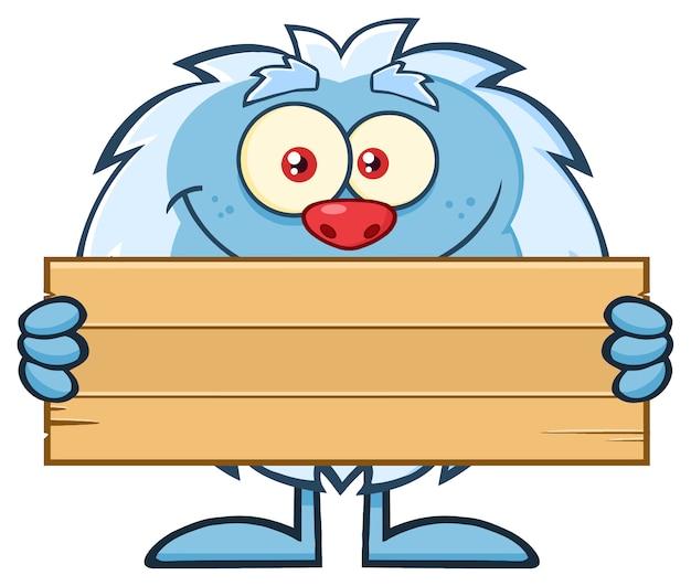 Personnage de mascotte yeti tenant une pancarte en bois