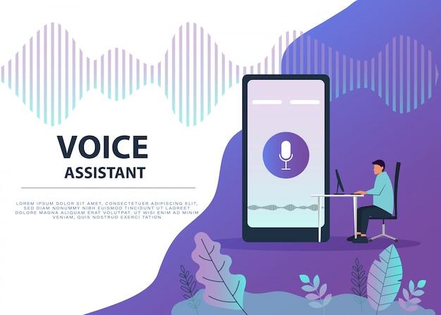 Personnage masculin à l'aide de la commande vocale pour son téléphone