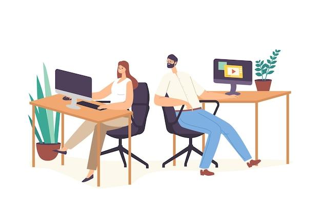 Personnage masculin assis sur le lieu de travail pry à un collègue regardant sur un écran d'ordinateur avec des informations secrètes. un homme curieux écoute et écoute au bureau. illustration vectorielle de gens de dessin animé