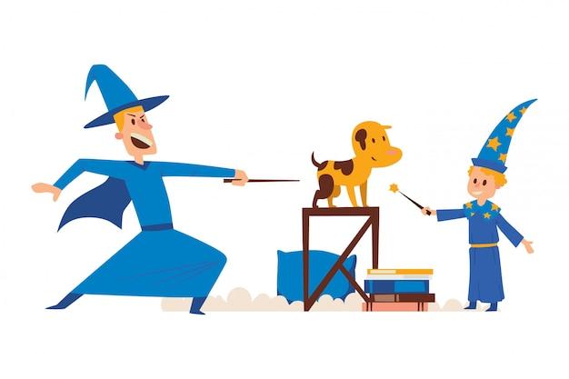 Personnage masculin assistant, enfant étudiant magique avec baguette magique, chien de conjuration, table, livre, isolé sur blanc, illustration plate.