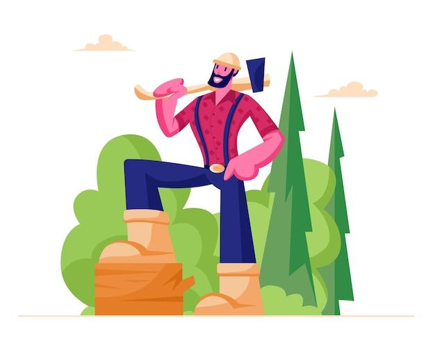 Personnage masculin bûcheron barbu en chemise à carreaux tenant une hache sur l'épaule se tenir sur une bûche de bois en forêt