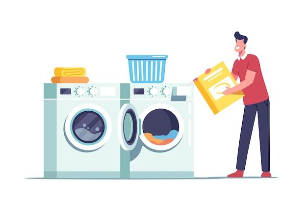 Un personnage masculin dans une blanchisserie publique ou une salle de bain à domicile en train de charger des vêtements sales et du détergent en poudre dans une laverie automatique ou une machine à laver