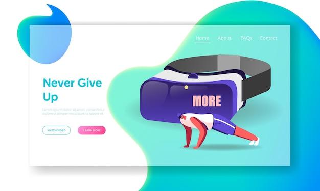 Personnage masculin dans la formation de lunettes vr dans le modèle de page de destination du cyberespace en réalité virtuelle