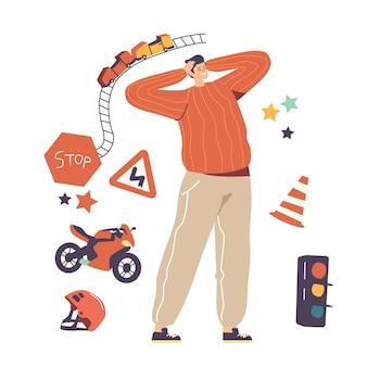 Un personnage masculin excité s'engage dans des activités de loisirs d'adrénaline et d'activités de sports extrêmes