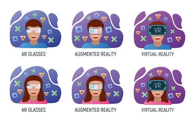 Personnage masculin et féminin dans des lunettes de réalité virtuelle, technologie moderne réalité augmentée isolée