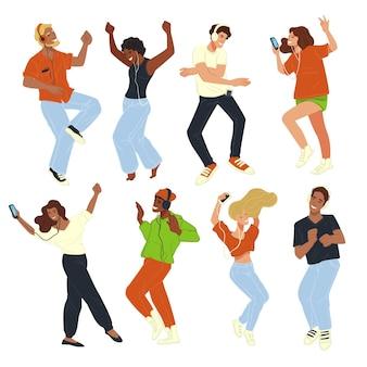 Personnage masculin et féminin dansant à la fête ou à la discothèque, les gens s'amusent et pratiquent leurs compétences. fête ou clubbing, les personnages écoutent de la musique et apprécient les divertissements. vecteur dans un style plat