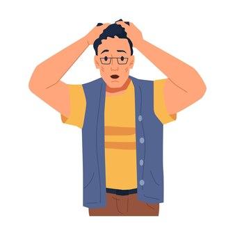 Personnage masculin frustré tenant la tête avec les mains homme choqué isolé portant des lunettes émotionnelle
