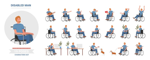 Personnage masculin avec un handicap physique activités en fauteuil roulant