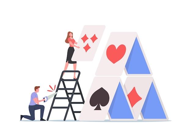 Personnage masculin avec de mauvaises intentions a vu l'échelle pour casser le château de cartes femme construisant avec patience. dommage ennemi caché, problèmes de relations, homme sournois et peu sincère. illustration vectorielle de gens de dessin animé