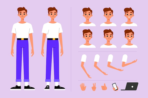 Personnage masculin pose collection d'illustration