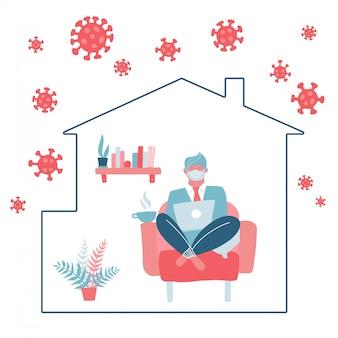 Le personnage masculin reste à la maison pour éviter le danger du virus corona. auto-quarantaine. un homme travaille sur un ordinateur portable assis sur une chaise. covid-19 à l'extérieur de la silhouette de la maison. concept plat