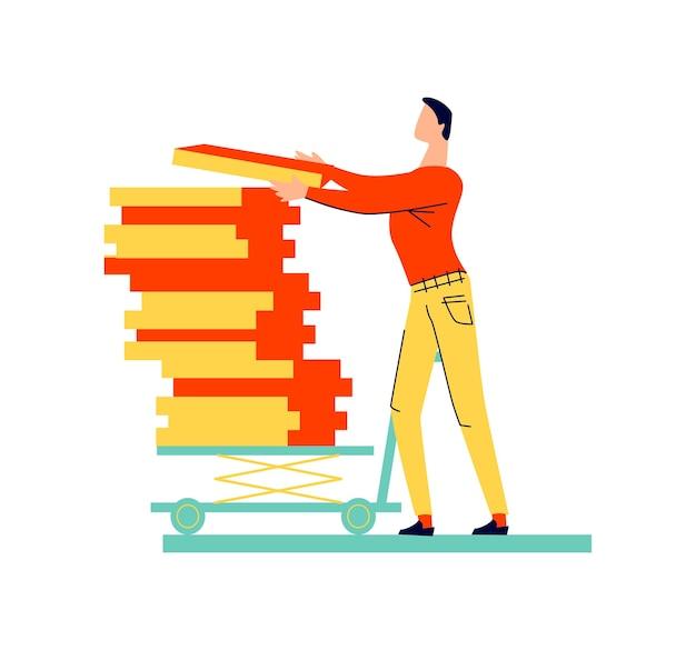 Personnage masculin se déplace caricature de cargaison