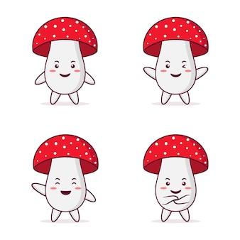 Personnage de mashroom mignon avec différentes poses et expressions