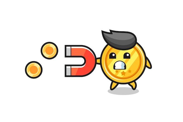 Le personnage de la médaille tient un aimant pour attraper les pièces d'or, design de style mignon pour t-shirt, autocollant, élément de logo