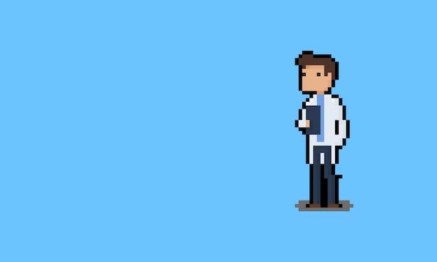Personnage de médecin de dessin animé pixel art.