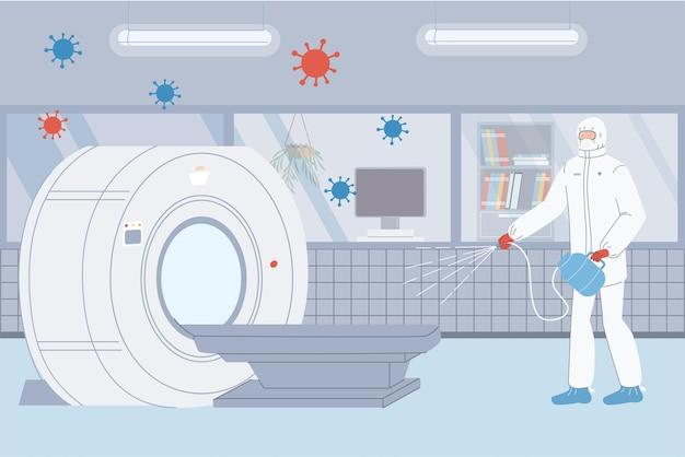 Le personnage de médecin de dessin animé plat de vecteur en tenue de protection désinfecte la table d'irm dans le laboratoire de la clinique
