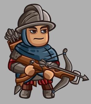 Personnage médiéval mignon avec une arbalète lourde