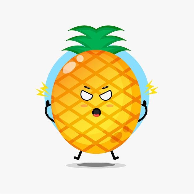 Le personnage mignon d'ananas est en colère