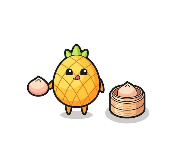 Personnage mignon d'ananas mangeant des petits pains cuits à la vapeur, conception de style mignon pour t-shirt, autocollant, élément de logo
