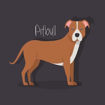 Personnage mignon d'animal de compagnie de chien de pitbull