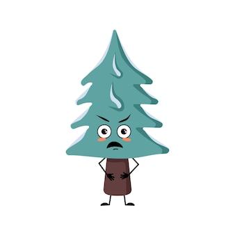 Le personnage mignon d'arbre de noël avec des émotions fâchées fait face aux bras et aux jambes le pin drôle ou grincheux avec e...