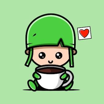 Personnage mignon de l'armée avec une tasse de café