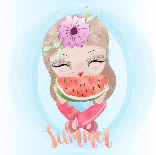 Personnage mignon bébé fille et melon d'eau peint aquarelle prime vecteur