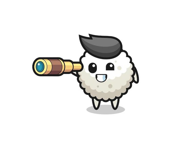 Le personnage mignon de boule de riz tient un vieux télescope, un design de style mignon pour un t-shirt, un autocollant, un élément de logo