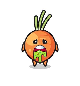 Le personnage mignon de carotte avec vomi, design de style mignon pour t-shirt, autocollant, élément de logo