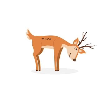 Personnage mignon de cerf de dessin animé pour la conception d'animaux de dessin animé d'enfants debout sautant et frôlant