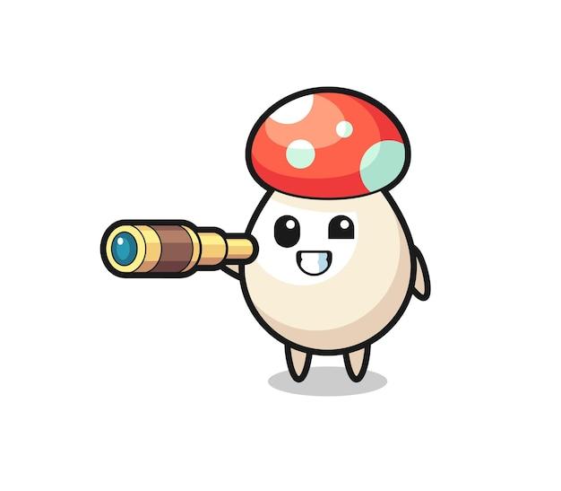 Le personnage mignon de champignon tient un vieux télescope, un design de style mignon pour un t-shirt, un autocollant, un élément de logo