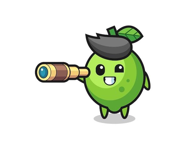 Le personnage mignon de chaux tient un vieux télescope, un design de style mignon pour un t-shirt, un autocollant, un élément de logo