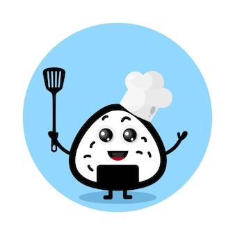 Personnage mignon de chef onigiri