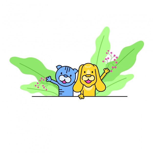 Personnage mignon de chien et de chat animal domestique, joyeux animal domestique se réjouir de câlin et jeter des confettis sur blanc, illustration.