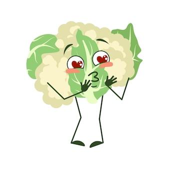 Le personnage mignon de chou-fleur tombe amoureux des yeux, les cœurs embrassent le visage, les bras et les jambes, le drôle ou le sourire...