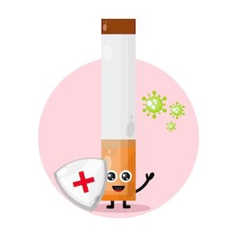 Personnage mignon de cigarette de protection contre les virus