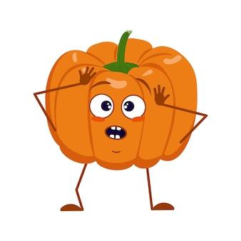 Un personnage mignon de citrouille avec des émotions dans une panique attrape sa tête, son visage, ses bras et ses jambes. le héros drôle ou triste, le légume d'automne orange. décorations d'halloween plat de vecteur.
