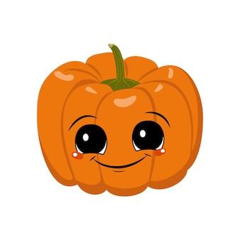 Personnage mignon de citrouille avec des émotions de joie, un visage, de grands yeux et un large sourire heureux. décoration festive pour halloween. héros végétal espiègle