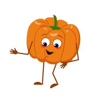 Personnage mignon de citrouille avec des émotions de joie, un visage souriant, des yeux, des bras et des jambes heureux. décoration festive pour halloween. un héros végétal espiègle. télévision illustration vectorielle