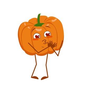 Le personnage mignon de citrouille tombe amoureux des yeux, des cœurs, des bras et des jambes. le héros drôle ou souriant, le légume d'automne orange. vecteur plat halloween
