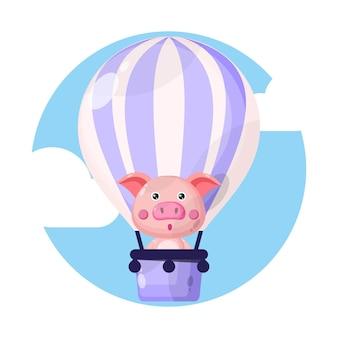 Personnage mignon de cochon en montgolfière