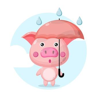 Personnage mignon de cochon parapluie pluie