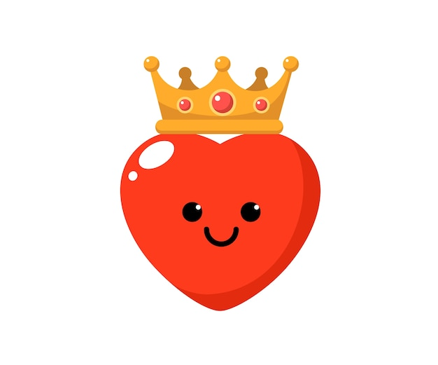Personnage mignon coeur porter une couronne.