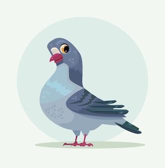 Personnage mignon de colombe bleu gris urbain.
