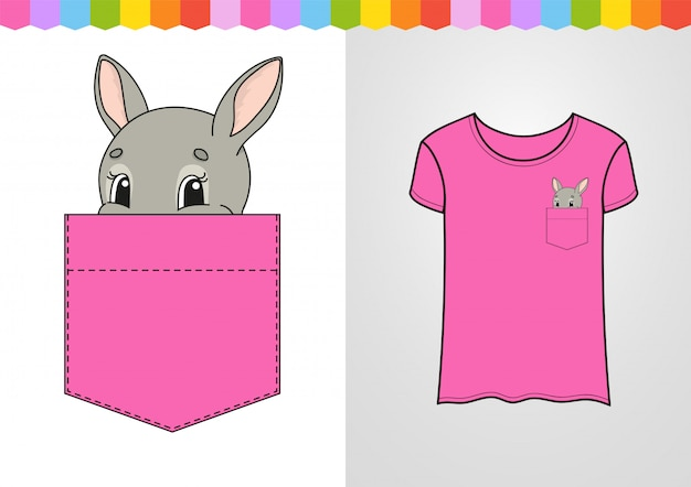 Personnage mignon dans la poche de la chemise. lapin lapin animal.