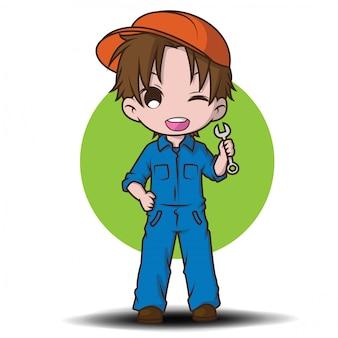 Personnage mignon de dessin animé de mécanicien.