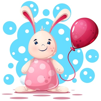 Personnage mignon, drôle et joli beau lapin